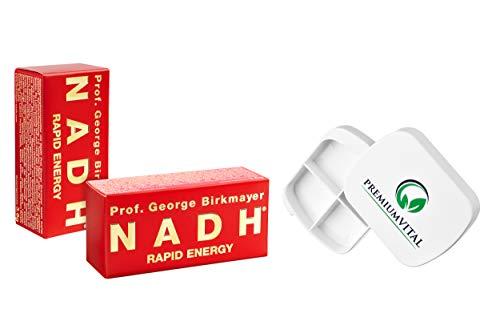 Prof. George Birkmayer NADH - Rapid Energy (20 mg NADH/Coenzym 1 pro Tablette) - (2x 60 Tabletten) - Vorteilsangebot + GRATIS Pillendose von Premiumvital -
