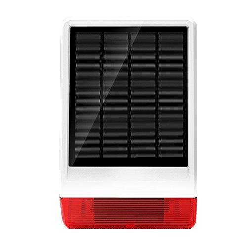 ERAY JD-W06 Sirène Extérieur Solaire Sans Fil 120DB avec Lumière Flash * Etanche * Facile à installer * Economies d'énergie * pour Notre Système d'alarme
