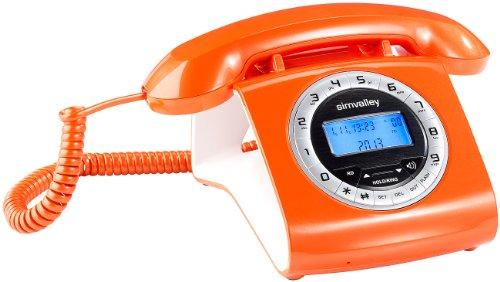 simvalley communications Nostalgie Telefon: Schnurgebundenes Retro-Festnetztelefon, orange (Retro Tisch Festnetz Telefon) (Tischtelefon Mit Schnurlosem Telefon)
