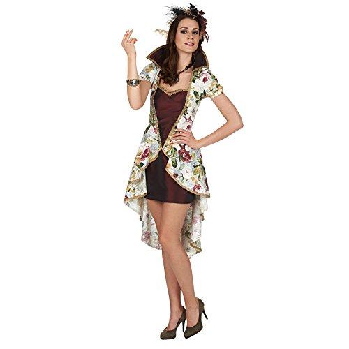 Kleid Antoinette Kostüm Marie (Marie Antoinette Barock Kostüm Kleid Damen Rot Mit Blüten Alloverprint -)