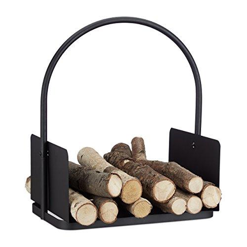 Relaxdays Cesto porta legna da camino nero contenitore grande culla per legname metallo HxLxP 47 x 40 x 30 nero