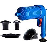 Feketeuki Drenaje de Aire a Alta presión Blaster Cleaner ABS Plástico Tubería Inodoros Draga Tuberías y desagües obstruidos con 4 adaptadores - Azul