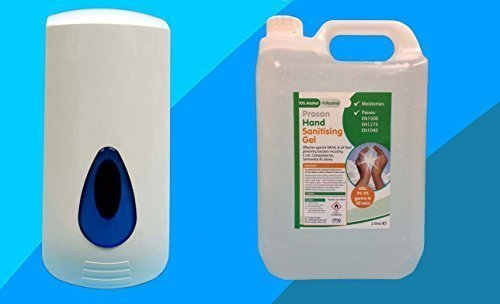5 Litros ALCOHOL MANO HIGIENIZACIÓN Gel con 900ml Brightwell de pared dispensador