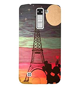 For LG K7 :: LG K7 Dual SIM :: LG K7 X210 X210DS MS330 :: LG Tribute 5 LS675 nice tower, tower, moon, star, cartoon couple Designer Printed High Quality Smooth Matte Protective Mobile Case Back Pouch Cover by APEX