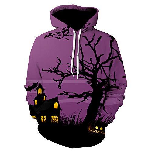 SamMoSon Unisex Hoodies Kapuzenpulli Sweatshirt Kapuzenjacke 3D Druck Kapuzenpullover Langarm Bunte Pullover Halloween-All-Souls-Day-Frauen-Männer-Couple-Punk S-3XL