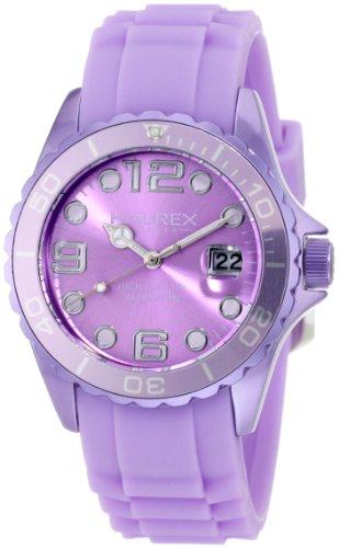 Haurex Italy Ink - Reloj analógico de mujer de cuarzo con correa de silicona lila