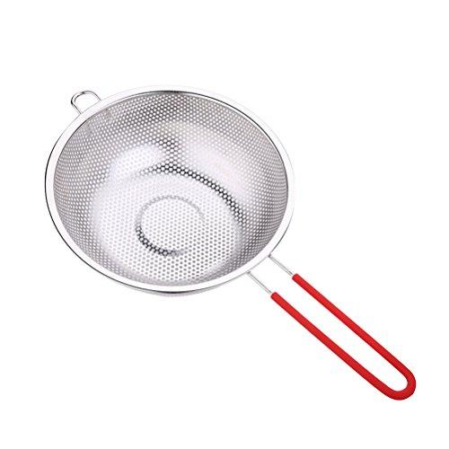 BESTONZON Feinmaschige Edelstahlsiebe Spiralen Mesh Skimmer Löffel Schöpfkelle für Nudeln Spaetzle Pasta Chips (Silber) Mesh Skimmer