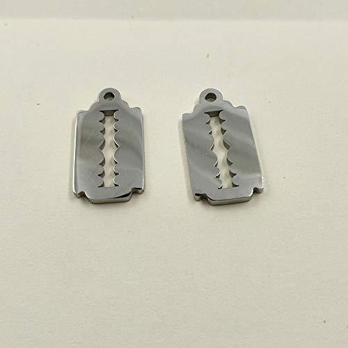 Defect Schlüsselanhänger aus Edelstahl rechteckige Glatte Kleine Anhänger Rasierklinge - 10 * 19 mm 10 Stück Set