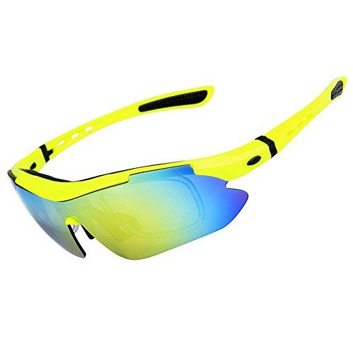 Enjoysports Unisex Polarisierte Sport-Sonnenbrille, blendfrei, bruchsicher, Outdoor-Brille mit 5 austauschbaren Gläsern für Radfahren, Laufen, Autofahren, Angeln, Schießen, Golf, Baseball, Brillen, 6 Farben, Herren, gelb