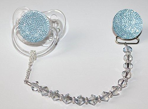 Preisvergleich Produktbild Crystal Dream blau Glitzer Kristall Schnuller mit Kristallen und Perlen Schnuller Clip (gsgb-s-6m +)