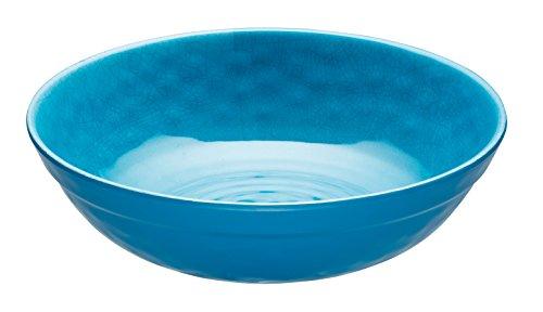 Kitchen Craft KCSMBOWLBLU We Love Sommer Schüssel aus Melamin, im Keramik-Stil, Melamin, blau, 20 x 20 x 5.5 cm