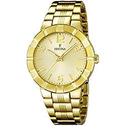Festina F16713/2 - Reloj de pulsera mujer, acero inoxidable chapado, color dorado