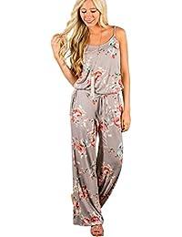 IMJONO. Womens ärmellose Kordelzug Playsuit Damen lange Floral Jumpsuit  (Khaki, ... b503454b11
