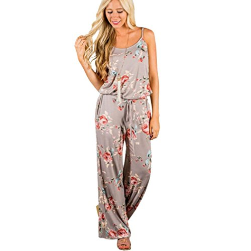 IMJONO. Womens ärmellose Kordelzug Playsuit Damen lange Floral Jumpsuit (Khaki, L) (Top Tanz Crop Kind)