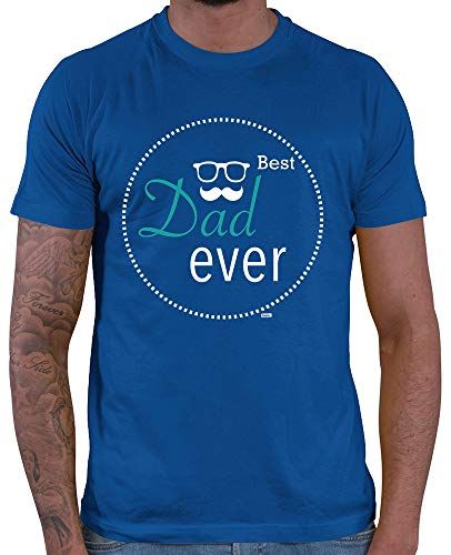 HARIZ  Herren T-Shirt Dad Ever 3 Männer Sohn Baby zur Geburt Inkl. Geschenk Karte Royal Blau S -