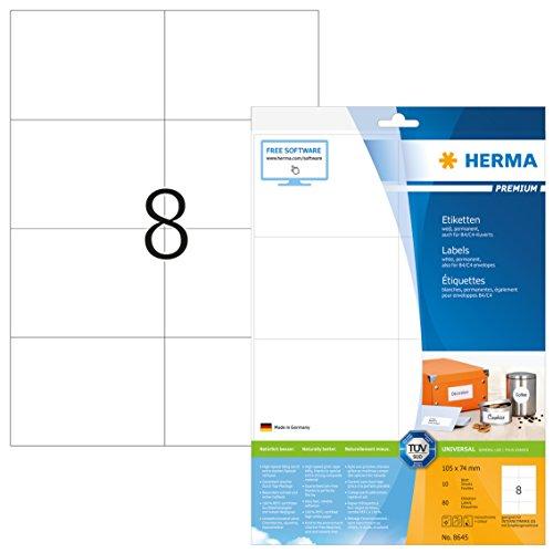 Herma 8645 Universal Etiketten (105 x 74 mm auf DIN A4 Premium Papier matt, weiß) 80 Stück auf 10 Blatt, selbstklebend, bedruckbar, Internetmarke