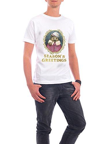 """Design T-Shirt Männer Continental Cotton """"Season's Greeting's Bear"""" - stylisches Shirt Weihnachten von Melanie Clarke Weiß"""