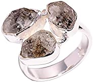 925 Sterling Silver Ring, Natural Raw Herkimer Diamond Handcrafted Women Jewelry RSR4014