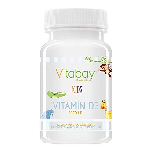 Vitamin D3 1000 IE - Ideal für Kinder zum lutschen oder kauen (120 Vegane Tabletten)