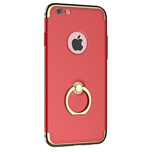 Phone Case & Hülle Für iPhone 6 & 6s, PC Drei - Punkt Spleißen Schutzhülle mit Ring Halter ( Color : Black ) Red