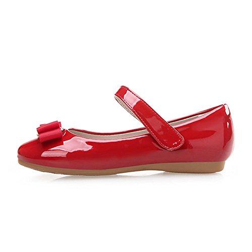 Kinder Mädchen Ballerinas Schuhe Prinzessin Lackschuhe mit Mode Single Schuhe (28 Inner länge: 18.5cm, Rot)