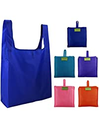 Royal Blue,Light Pink,Purple,Orange,Teal Blue : BeeGreen Reusable Grocery Bags Set Of 5, Grocery Tote Foldable...