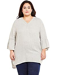 9d5dc860fb oxolloxo Plus Size Women V Neck Grey Tunic 3 4th Sleeves