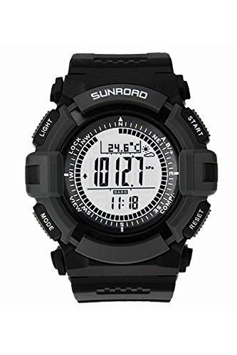 Sunroad orologio sportivo FR821A 3ATM impermeabile altimetro Bussola Cronometro Pesca barometro Contapassi Outdoor multifunzione Guarda watch (nero)
