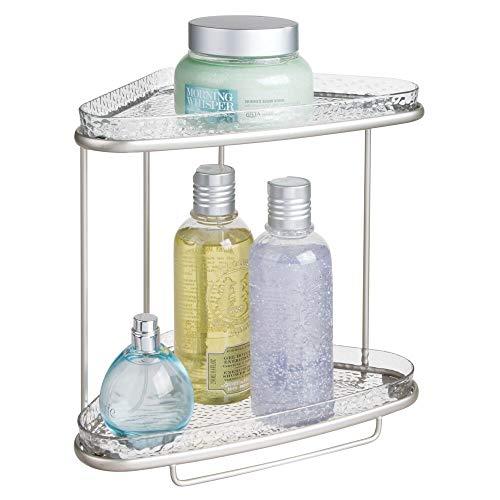 Mdesign scaffale doccia angolare da terra - portaoggetti e portasapone doccia a 2 piani - per shampoo, balsamo, gel, lozioni e altri accessori bagno - inossidabile - colore: argento