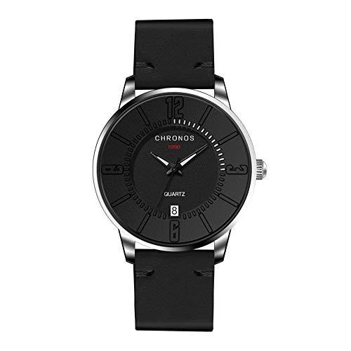 Herrenuhren Ultradünne Arabische Zahlenskala mit Kalender Quarzwerk Armbanduhren für Unisex Lederband Mode, Schwarz