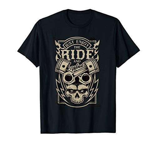 Tattoo Rock Ride Wind Schädel Kolben T-Shirt ()
