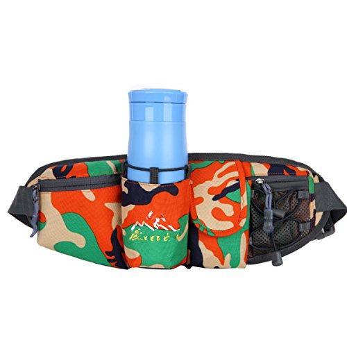GXYLLDS Deporte Bolsa Casual Cintura Cintura Bestiame Cintura Diseño Traspirabile Malla Impermeabile Auricolare Perro Caminar Y Andar En Bicicleta OrangeCamouflage