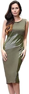 Ruiyige Mujers elegante cuero empalme ajuste túnica Vestido de Novia
