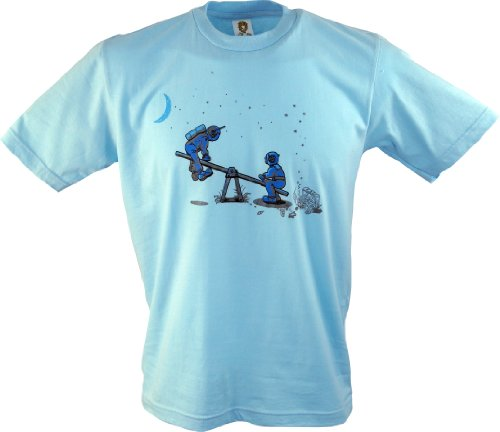 Fun T-Shirt `Weltraum Wippe` / Spaß T-Shirts Blau