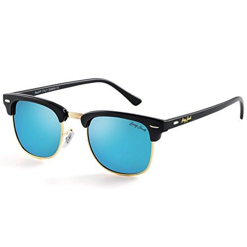 GREY JACK Klassische Polarisierte Halber Rahmen Gespiegelte Sonnenbrille Modebrille für Männer Frauen Matt Schwarz Rahmen Eisblau Linse