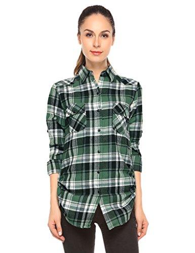 Match donna flanella plaid camicia #b003(b003 checks#3,xs)