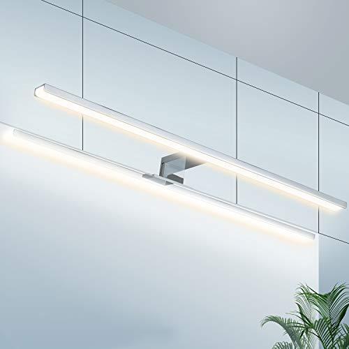 Wowatt LED Spiegelleuchte Bad Spiegellampe 60cm Badezimmer Badleuchte IP44 Wandmontage Schanklampe Klemmleuchte 4000K Neutralweiß Schminklicht Schrankleuchte Aufbauleuchte Schrank-Beleuchtung 230V