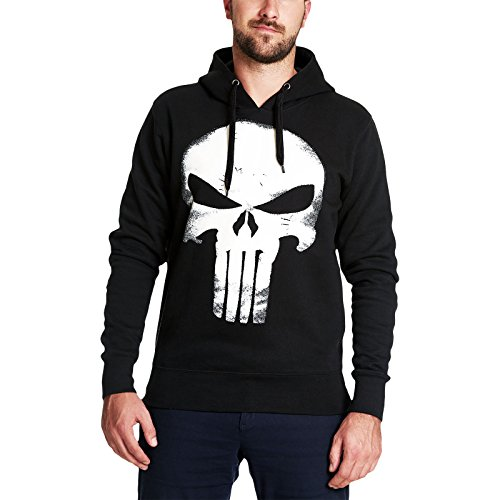Punisher Kapuzen Pullover Skull Logo Hoodie Marvel schwarz - XL -