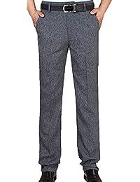 a034b8ebfc1280 Herren Chino Hose Straight Leg Herrenmode Business Hose Mit Anzughose  Bundfalte Sommer Leinen Hose Lange Hosen…