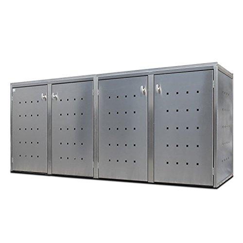*Mülltonnenbox für 4 Tonnen a 240 Liter aus Edelstahl – Mülltonnen-Verkleidung keter von Indra Metallwaren*