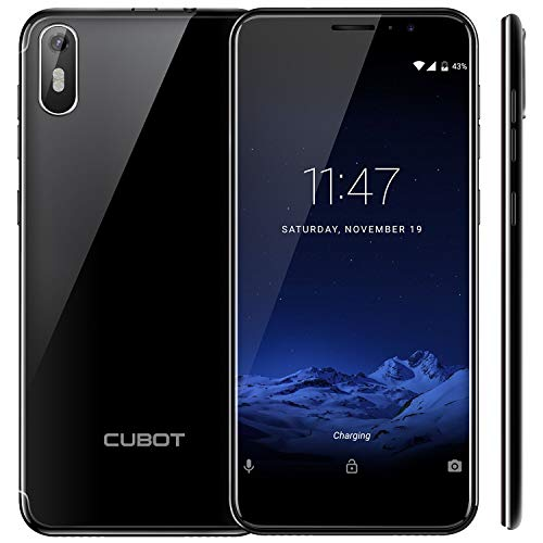 "CUBOT J5 (2019) Android 9.0 Dual SIM Smartphone ohne Vertrag, 5.5"" (18:9)Touch Display, 2GB Ram+16GB interner Speicher, Quad-Core, 8MP Hauptkamera / 5MP Frontkamera und Face-Unlock Funktion (Schwarz)"
