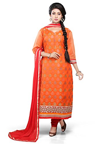 Utsav Fashion Straight Cut Suit In Orange Colour
