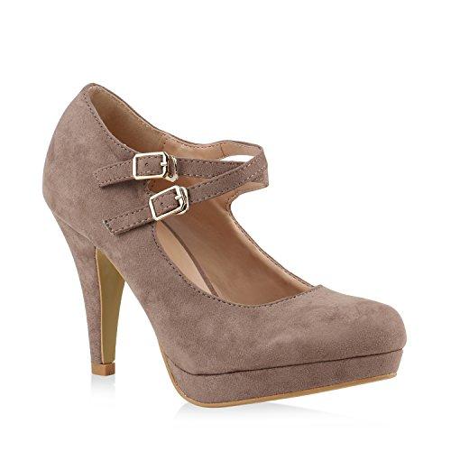 Damen Pumps T-Strap Spitze High Heels Riemchenpumps Stilettos Zierperlen Nieten Blockabsatz Schuhe 139752 Khaki Schnalle 40 Flandell (Schnalle Spitze)