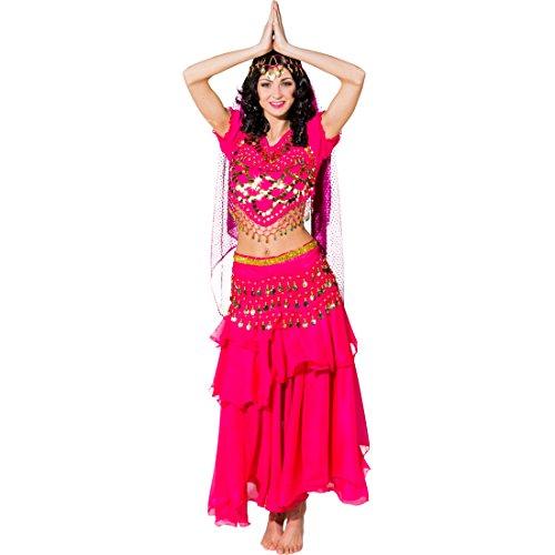 Nacht Bollywood Kostüm - NET TOYS 1001 Nacht Kostüm orientalisches Bauchtanzkostüm pink Bollywood Karnevalskostüm Bauchtänzerin Damenkostüm