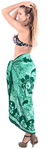 La Leela sanfte Rayon Schuh Blumenbatik Bikini Sarong und verschleiern 78x42 Zoll Tannengrün Grün~~Pos=Headcomp