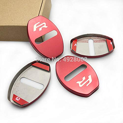 stainless steel Door Lock Caps For Leon Ibiza Arona Ateca Toledo FR Protective Cover auto Door Styling (red)