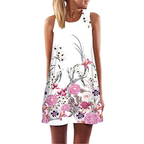 Hippolo Damen Neueste Kleid f¨¹r Frauen beil?ufige Sommer A Linien Ärmellos Kleider mit Blumenmuster (M, Stil 9)