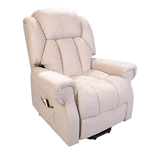 Hainworth Dual Motor riser recliner chair rise lift with heat and massage (Beige Fabric)