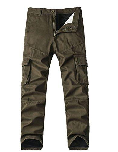 Menschwear Herren Cargo Hosen Freizeit Multi-Taschen Fleece gefütterte (40,Khaki) (Boys-cargo-shorts Baby Khaki)