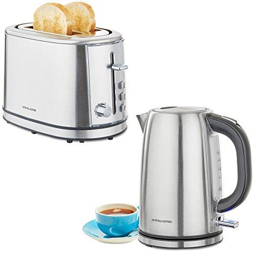 Andrew James Argentum Toaster & Wasserkocher Set | 2 Scheiben Toaster mit 6 Wärmestufen und Brötchenaufsatz | 3000W Schnellkochende Wasserkocher